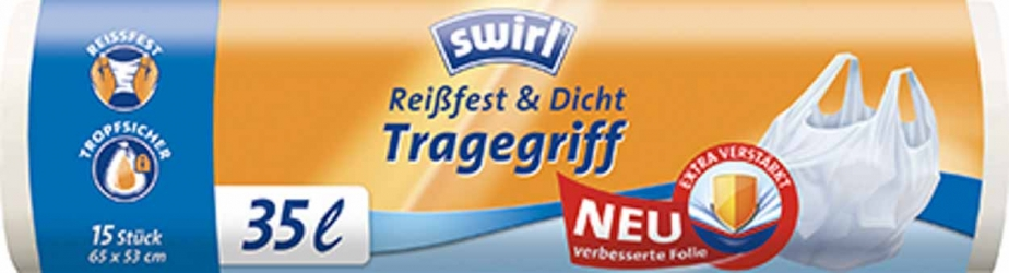 Swirl Müllbeutel Reißfest & Dicht mit Tragegriff 35l