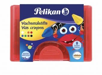 Pelikan Wachsmalstifte wasserfest Kunststoff-Etui mit 8 dicken runden Stiften und Schaber