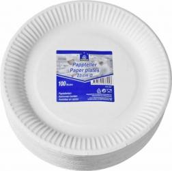 Horeca Select Pappteller weiß rund Ø 23 cm 100 Stück Packung