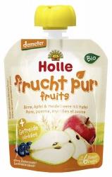 Holle baby food Pouchy Birne Apfel & Heidelbeere mit Hafer ab dem 6. Monat 90g