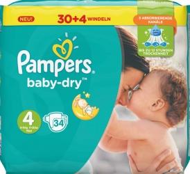 Pampers Baby Dry Maxi Windeln Gr.4 8-16kg 34 Stück